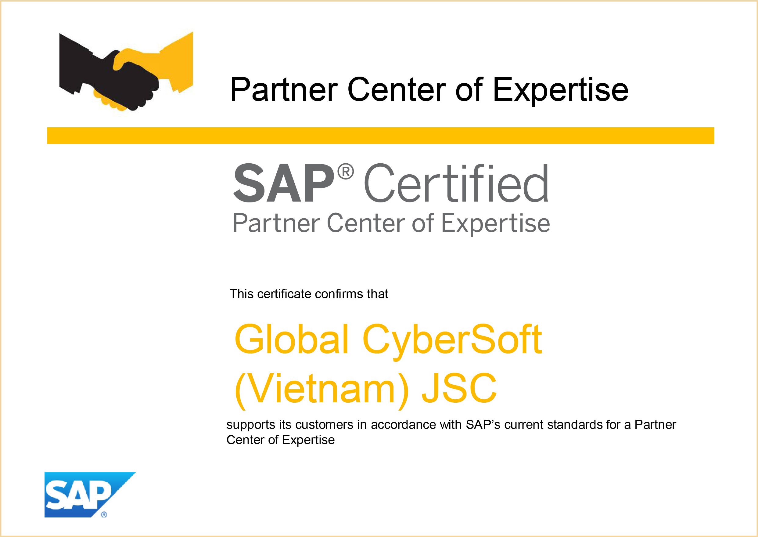 Global Cybersoft Achieved Sap Partner Center Of Expertise Pcoe Re